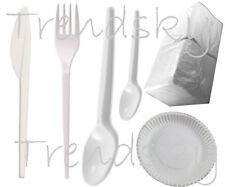 Plastikbesteck Einweg Messer Gabel Löffel Kaffeelöffel Serviette Pappteller 23cm