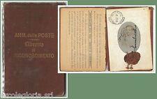 61024 - Vintage  DOCUMENTO D'EPOCA:  LIBRETTO RICONOSCIMENTO POSTALE  1916