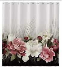 Elegant Victorian Farmhouse Floral Neutral Pink Red Fabric Shower Curtain