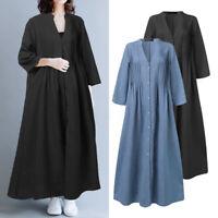 ZANZEA Women Long Sleeve V Neck Button Down Casual Loose Kaftan Baggy Maxi Dress