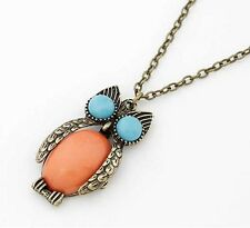 Hot Sell Fashion vintage Copper Long Chain Nested Owl Pendant Necklace