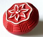 Vintage Button Buffed Celluloid High Profile Red Flower Edelweiss 1 1 8