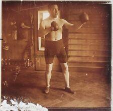 Boxeur Boxe Lutte Photo Plaque de verre Stereo Vintage 1922