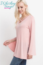Criss Cross Bell Sleeve Top by Mittoshop - Pink - Sz Small