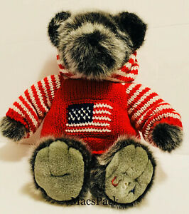 "Dillards Plush 16"" Smoky Grey Teddy Bear Red White Blue USA Olympic Flag Sweater"