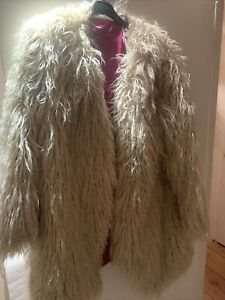 NWT FREE PEOPLE SIZE MEDIUM FLORENCE SHAGGY FAUX FUR OPEN COAT SAND