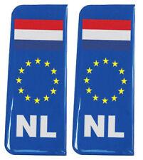 2x Netherlands (NL) EU Blue - Gel Domed Number Plate Badges/Decals 107x42mm