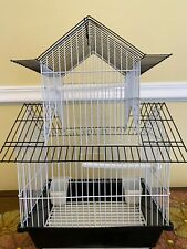 """New listing Black Bird Wired Cage for Small Birds Supplies Included 11"""" x 8.5"""" by 18"""" high"""