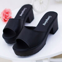 Women Stylish High Heel Leather Platform Shoes Fashion Wedges Flip Flop Sandals