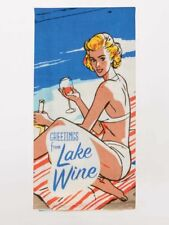 Greetings from Lake Wine Blue Q Kitchen Dish Towel Super Absorbent Funny Quirky