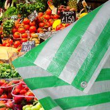 Green White Stripe Heavy Duty Tarpaulin Market Stall Cover Builders Tarp Sheet