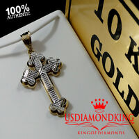 "MEN'S WOMEN'S 10K 100% REAL TWO TONE GOLD JESUS CROSS CHARM PENDANT 1.5"" 2.5g"