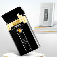 Electric Cigarette Lighter Usb Rechargeable Hold 20 Sandard Cigarettes Box Case