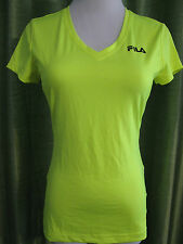 Fila Sport Neon Yellow Fitness Athletic Workout Short Sleeve V-Neck Shirt XS EUC