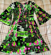 CRISTINA LOVE MULTI-COLOR Green Pink Black LONG SLEEVE V-NECK BLOUSE DRESS LARGE