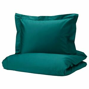 IKEA LUKTJASMIN DOUBLE DUVET COVER SET DARK GREEN 200 x 200 CM COTTON + LYOCELL