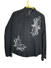 POP ICON Clothing Men's Black/Grey Embroidered Button Down Shirt Size LARGE