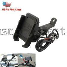 Motorcycle Bike Aluminum Mobile Phone GPS Handlebar Mount Holder w/ USB Charger