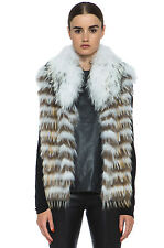 YVES SALOMON FINN RACCOON FUR VEST GILET FR 36 UK 8
