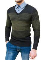 Maglione da uomo con camicia in coordinato invernale nero pullover golf elegante