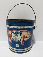 VINTAGE  LARD BUCKET TIN - R B Rice's Pig (Bacon Maker) Advertising Tin Can