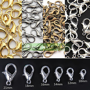 10/12/14/16/18/21mm Gold/Silver Lobster Claw Clasps Hooks lot For Jewelry Making