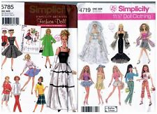 """Simplicity 4719 & 5785 Barbie 11 1/2"""" Doll Clothes Pattern s Vintage Uncut"""