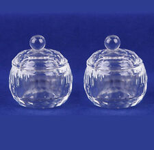 2Pcs Clear Nail Art Acrylic Crystal Glass Dappen Dish Liquid Powder Container