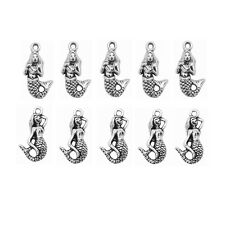 40pcs Mix Tibetan Silver Alloy Tone Mermaid pendant Charms Jewelry Findings