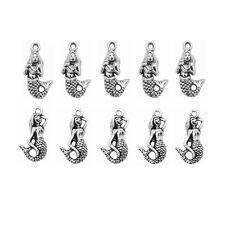 40pcs Mix Tibetan Silver Alloy Tone Mermaid pendant Charms Jewelry Findings