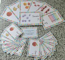 First Numbers 1 - 10 with pictures.  Educational learning flash cards