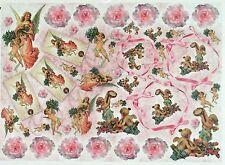Carta di riso Angeli vintage rosa per Decoupage Decopatch Scrapbook Craft sheet