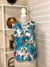 Pre-owned Women's Halogen Floral Sleeveless Blouse, Blue, Size Md.