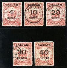 Labuan 1895 QV recargos conjunto completo muy bien usada. SG 75-79.