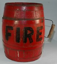 "RARE HANDLED 2 GALLON RED WOOD WATER OR POWDER KEG MARKED ""FIRE"" PRE-1900"