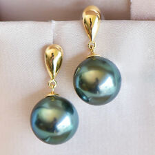Stunning AAA+ 10-11mm Real natural Tahitian black round pearl earrings 18k Gold