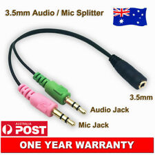 3.5mm Stereo Audio and Mic Male Plugs to Combined Female Adapter Splitter Cable