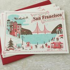 3 San Francisco Letterpress Xmas Cards - Golden Gate Bridge Cable Car California