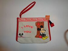 Vintage Mickey Mouse Canvas Wristlet Bag Mouse Power I Love You