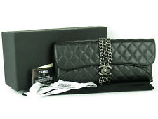 Authentic CHANEL CC Black Quilted Leather x Silver HW Flap Clutch Bag + Box Card