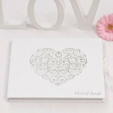 Vintage Romance Party Wedding Guest Book White & Silver