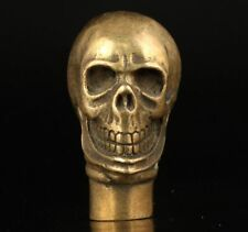 CLASSIC BRASS SCULPTURE SKULL COLLECT ADORNMENT WALKING STICK CANE HEAD