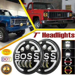 PAIR 7 INCH ROUND LED HEADLIGHTS WITH DRL TURN LIGHT UPGRADE FOR CHEVY C10 TRUCK