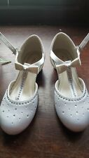 'Rainbow club' Girls White shoes size 1-  flower girls communion occasions party