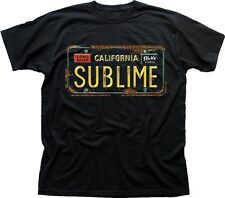 SUBLIME LONG BEACH Car NUMBER Plate black printed cotton t-shirt 9593