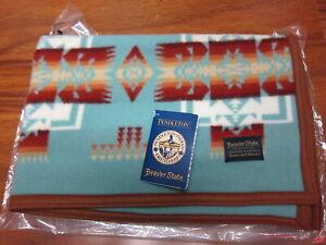 "Pendleton Chief Joseph Muchacho Baby Blanket Aqua 32""x44""  Made in USA!!"