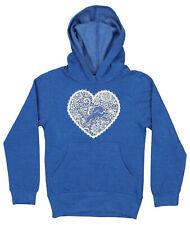 OuterStuff NFL Youth Girls Detroit Lions Metallic Heart Fleece Hoodie, Blue