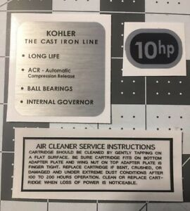 Kohler Engine early 10-hp Wheel Horse decals black and silver Set 3
