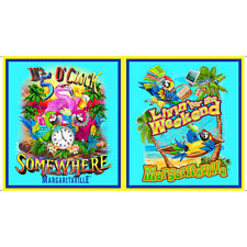 """Parrot Tropical Island Relax Vacation Cotton Fabric QT Margaritaville 24"""" Panel"""