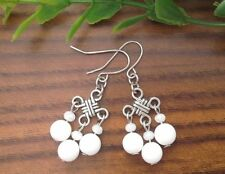 White ALABASTER Gemstone On Chinese Lucky Knot Drop Dangle Earrings ~ Feng Shui